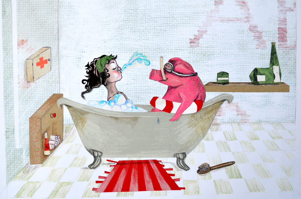 Schwein in Badewanne-Kinderbuch-cover-Illugraefin